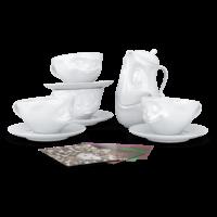 witzige Tassen und Kaffeekanne