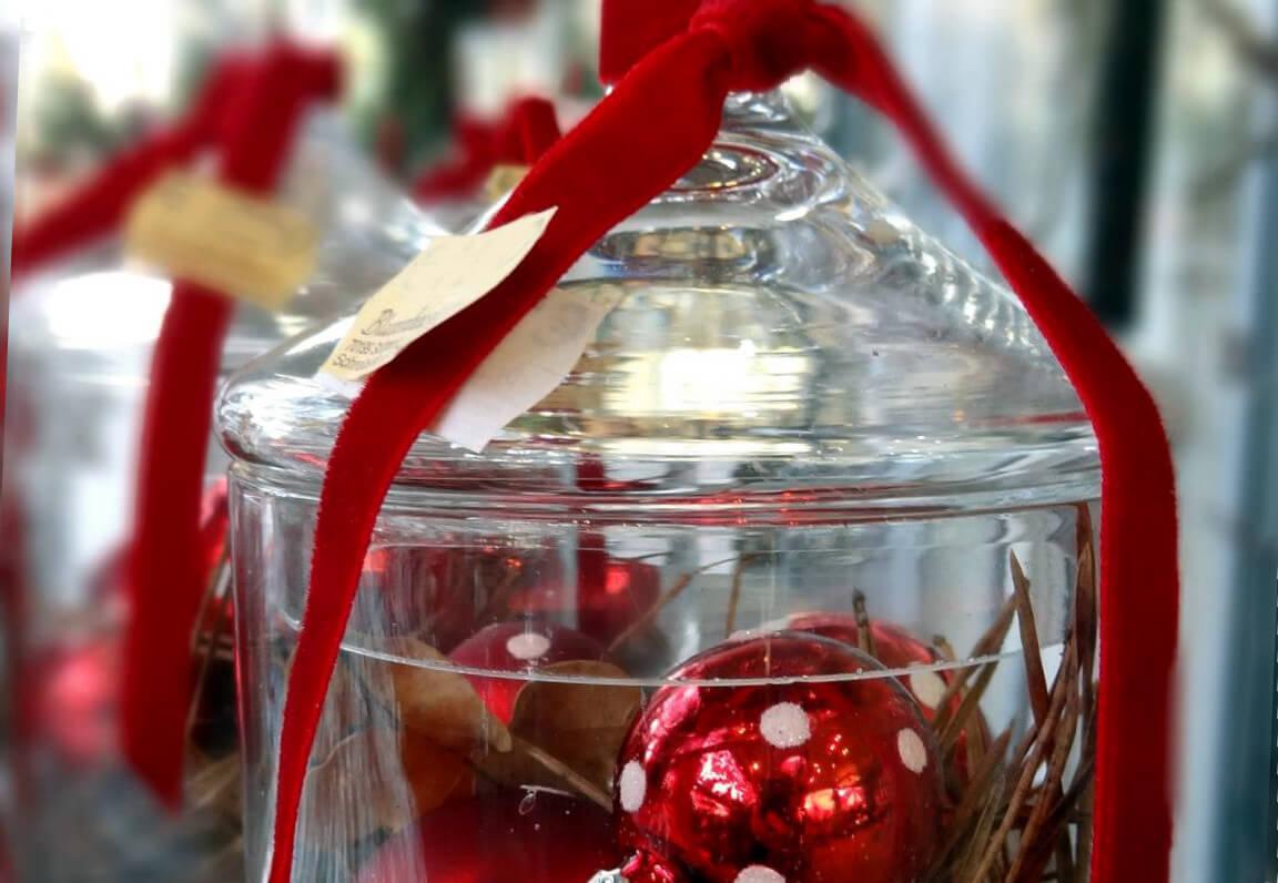 Weihnachts Glas Deko Quer